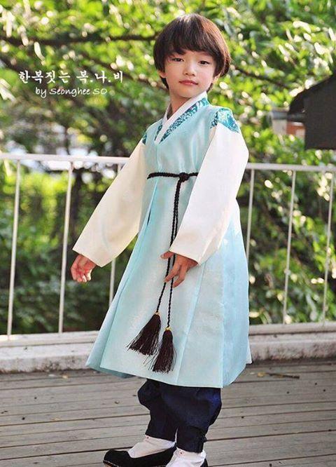 A little Korean boy in traditional dress.