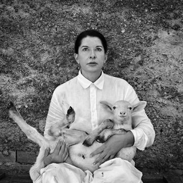 "subwaytiles: "" Marina ABRAMOVIC Portrait with Lamb (white and black) 2010 from the series Back to Simplicity """