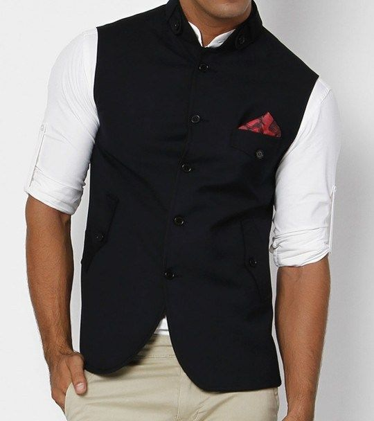 Navy Blue Nehru Jacket with designer red pocket square