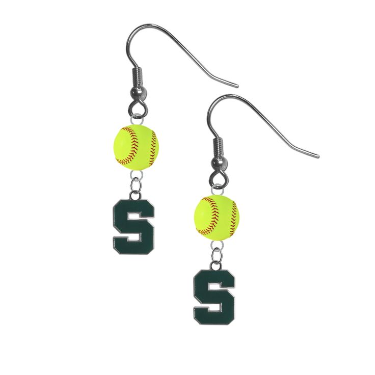 Michigan State Spartans NCAA Fastpitch Softball Dangle Earrings