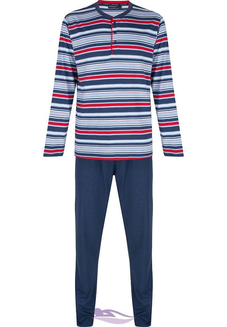 Pastunette for Men trendy red, white & blue multi-striped long sleeved pyjama set