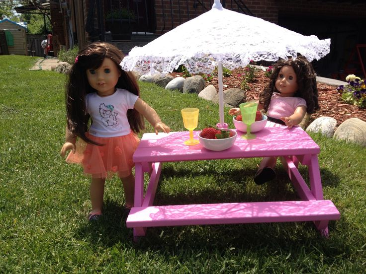 Picnic table with umbrella for American girl doll, Maplelea girl doll, Our generation doll or and 18 inch doll by LittleFancyPantsClos on Etsy
