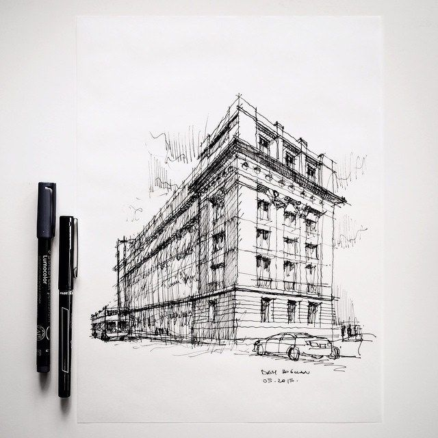 And finally, more or less complete. Just doodling, after all... #architecture #sketch | by Dan Hogman