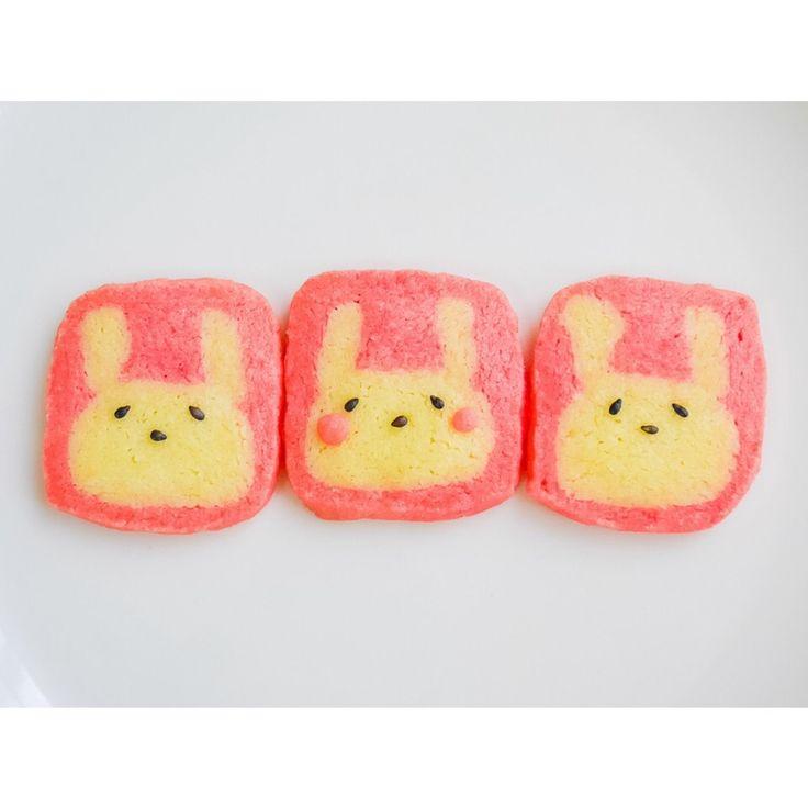risa's dish photo うさぎのアイスボックスクッキー   http://snapdish.co #SnapDish #レシピ #クッキー #簡単料理 #お誕生日 #おやつ #キャラクター