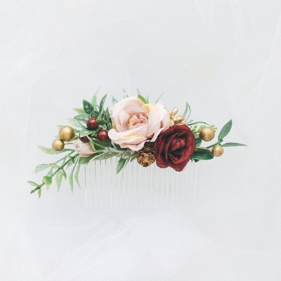 Wedding hair accessories, Flower hair comb, Greenery hair comb, Flower comb, Flower hair piece, Burgundy wedding comb, Bridal hair piece