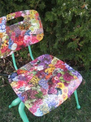 flowers from magazines- love this for craft room chairs or just FUN!  --via >Gettin Crafty