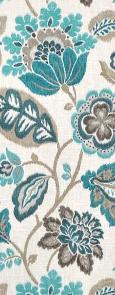 Pretty floral print for rooms with aqua blue or turquoise, white and gray Braemore Kazoo Seaglass Fabric