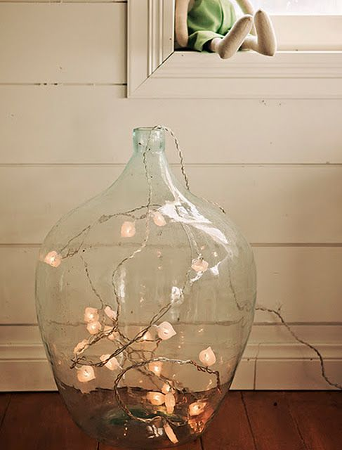 String Lights Vase : Large Clear Glass Floor Vase w/ string lights inside. For the Home Pinterest