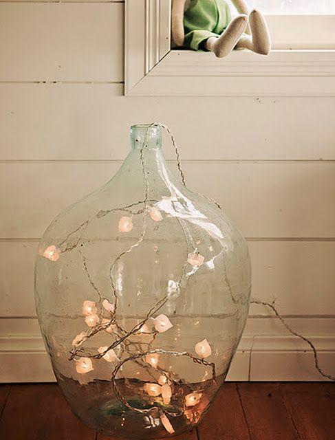 Large Clear Glass Floor Vase w/ string lights inside.