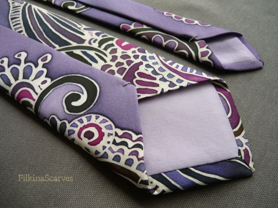 Silk Necktie Hand Painted Mens tie lavender tie by FilkinaScarvesUnique hand-painted lavender tie with stylized floral and leaf ornaments. With use of bee wax technique - the contours have the original ivory color of silk satin.