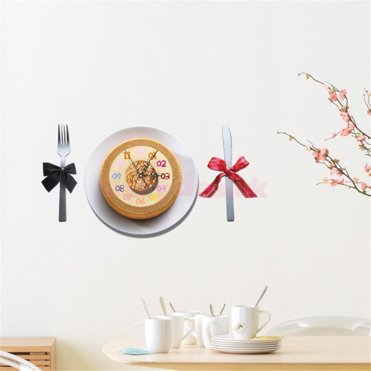 Creative Dessert 3D Wall Clock Removable Decals Stickers Home Wall Decor A