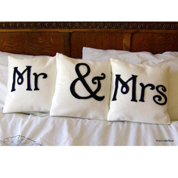 Mr. & Mrs. pillows! My inspiration for my latest piece of art for our master bedroom!