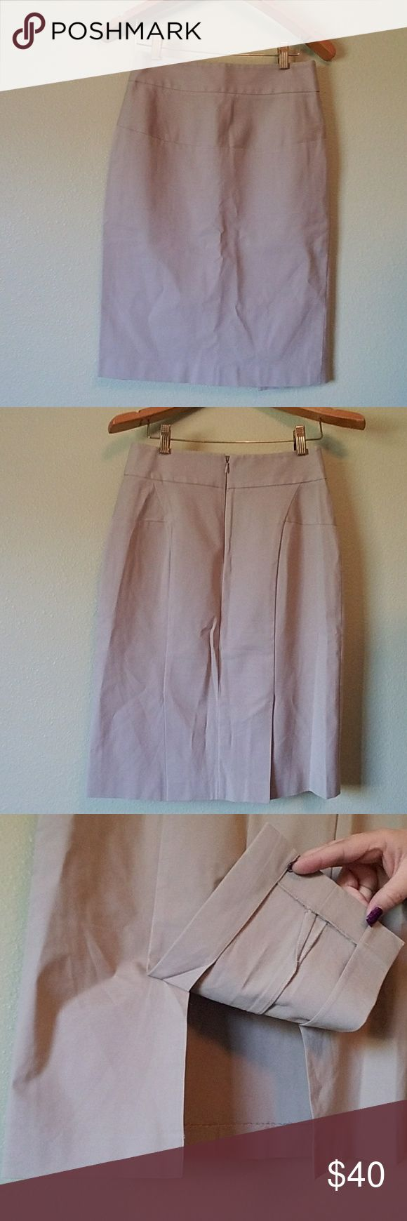 Theory Skirt Khaki pencil skirt with back side zipper and double slit un back by Theory. This is a size 6 and in great shape! Theory Skirts Pencil