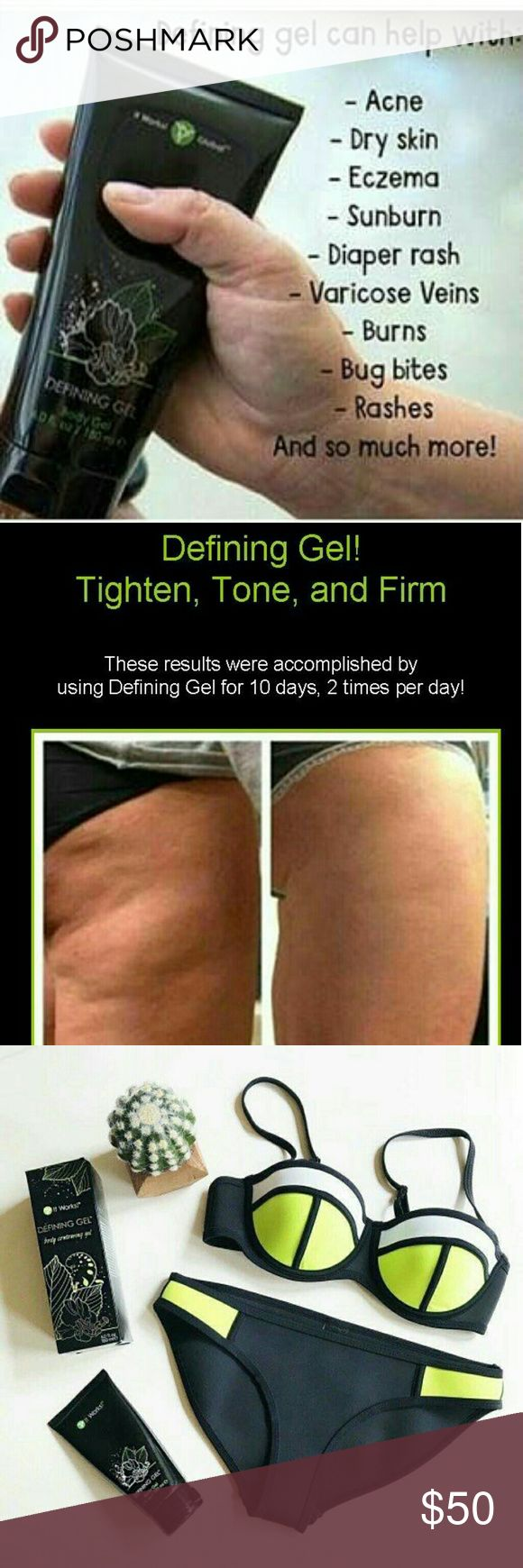 "It Works Defining Gel Meet the wrap applicatir best friend - Defining Gel! Tons and firms. Improves skin texture and helps with varicose veins. It also softnes and hydrates.  Enjoy this amazing ""Liquid Gold"" and get great results.  2 - Defining Gels Available. It Works Other"