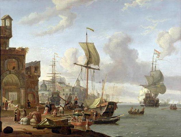 A capriccio Mediterranean harbour scene