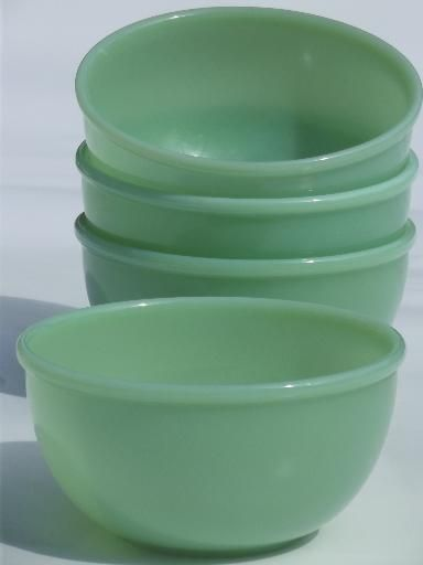 vintage jadite green Fire-King jadeite soup stew chili bowls set of 4