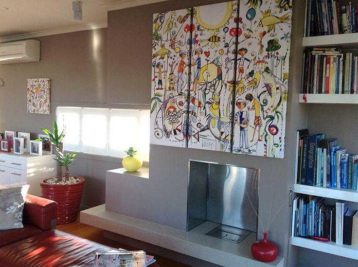 """Ainsi Va La Vie 50"" Triptych beautifully displayed in a home in Tasmania."