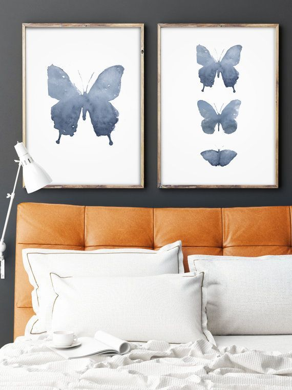 Set of 2 Watercolor Butterfly Blue Wing Print Abstract Blue by LadyWatercolor | Etsy #watercolor #butterfly #blue #insect #animal #fly #wing #art #set #baby #nursery #paint #wild #prints #gray #abstract