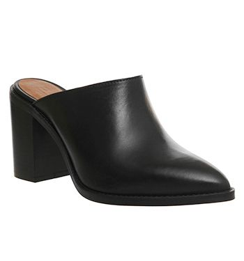 Office Wambam Point Block Mule Black Leather - Mid Heels