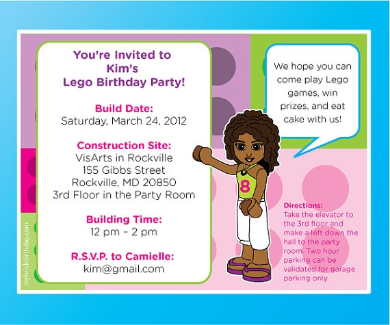 14 best lego friends birthday invitations lego friends party favors lego friends play date invite filmwisefo