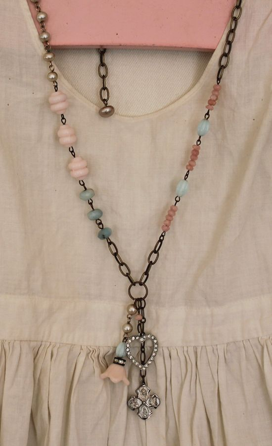 neat, funky mixed bead / charm pendant necklace. I love the soft almost sea glass green combined with the pink and the antiqued chain.