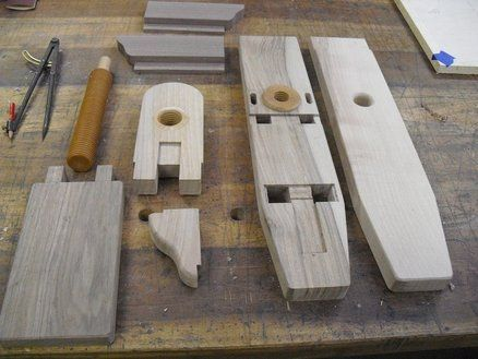 Homemade wooden vise and threads.