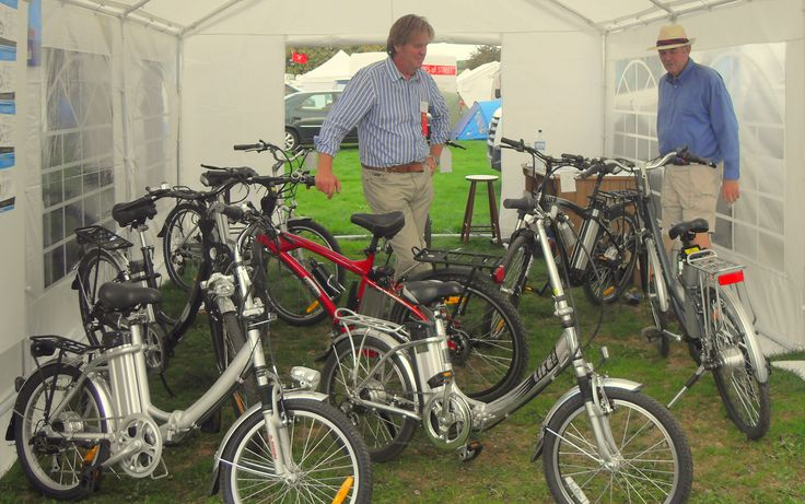 Electric bikes at Shepton Mallet Motorhome Show, UK.  Travels featured in the Campervan Capers books/blog by Alannah Foley.