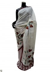 White plain saree with kantha design highlighted