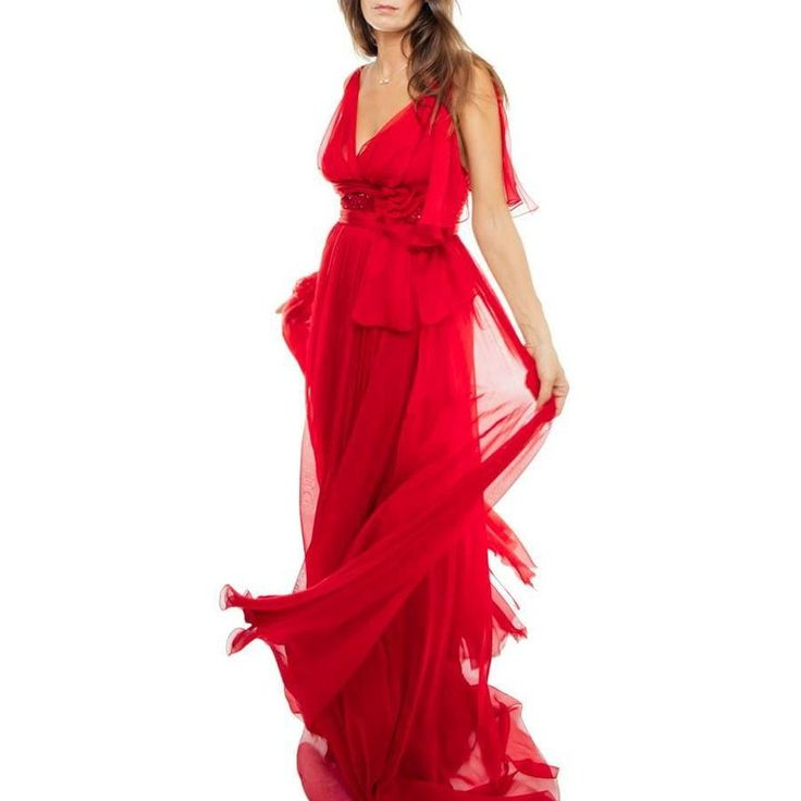 ELIE SAAB Evening Gown in Red Chiffon Size 38EU 4