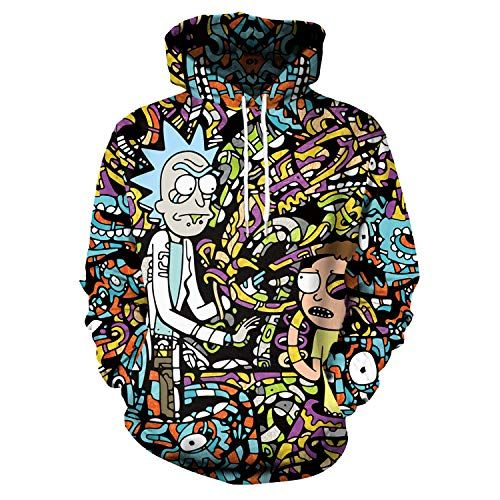 XJXDWY 3D Sport Hoodie Casual Pullover Unisex Movement Fancy Costume Digital Print Rick and Morty XS