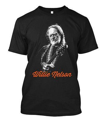 New-WILLIE-NELSON-Tour-Concert-2016-Men-039-s-Black-T-Shirt-Size-S-5XL