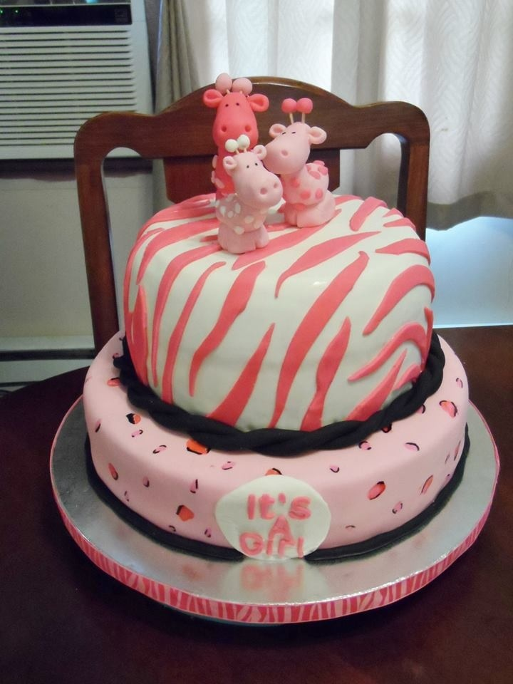 Awesome Animal Print Safari Itu0027s A Girl Baby Shower Cake. Super Cute.