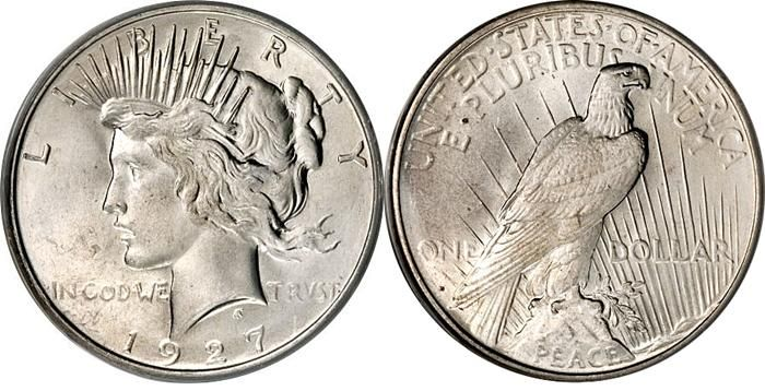 PEACE SILVER DOLLAR 1921-1928 (1934-1935).  SPECIFICATIONS:  Designer: Anthony de Francisci  Diameter: 38.5 millimeters  Metal Content: Silver - 90% Copper - 10%  Weight: 412.5 grains (26.7 grams)  Edge: Reeded