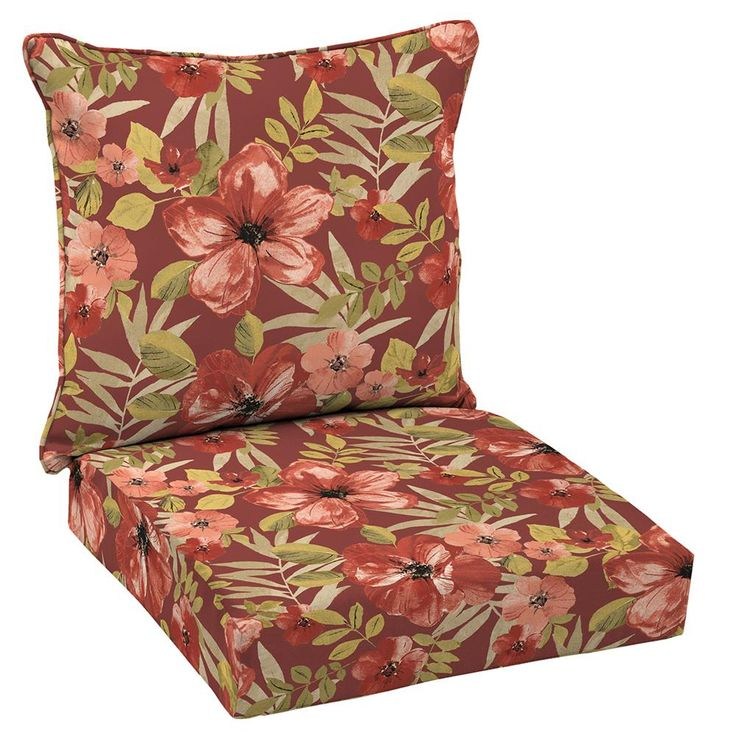 Hampton Bay Chili Tropical Blossom 2-Piece Deep Seating Outdoor Lounge Chair Cushion Set