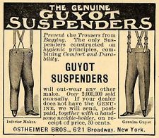 1898 Ad Ostheimer Bros. Guyot Suspenders Trousers  - ORIGINAL ADVERTISING