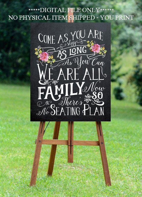 chalkboard wedding sign no seating plan sign by OurFriendsEclectic