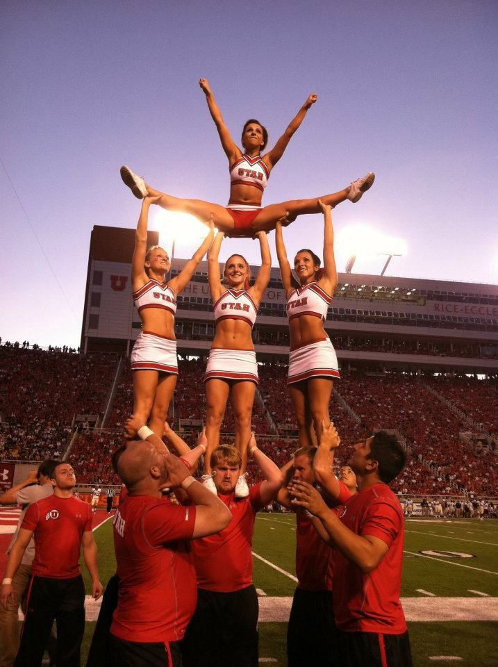 Cheer University of Utah college cheerleaders on the football field stunt splits pyramid game coed collegiate cheerleading via http://pinterest.com/karlyecc/one-and-only-cheer/ - #Utah Cheerleaders, 2011-2012 | Ute Girls #KyFun