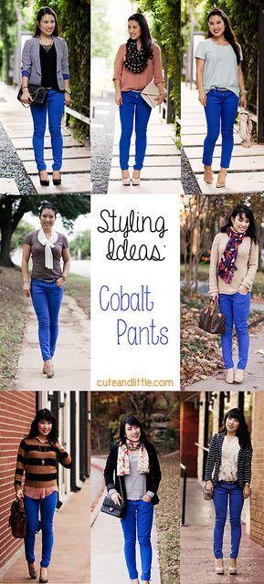 styling outfit inspiration ideas cobalt blue pants LOVE my cobalt pants!!