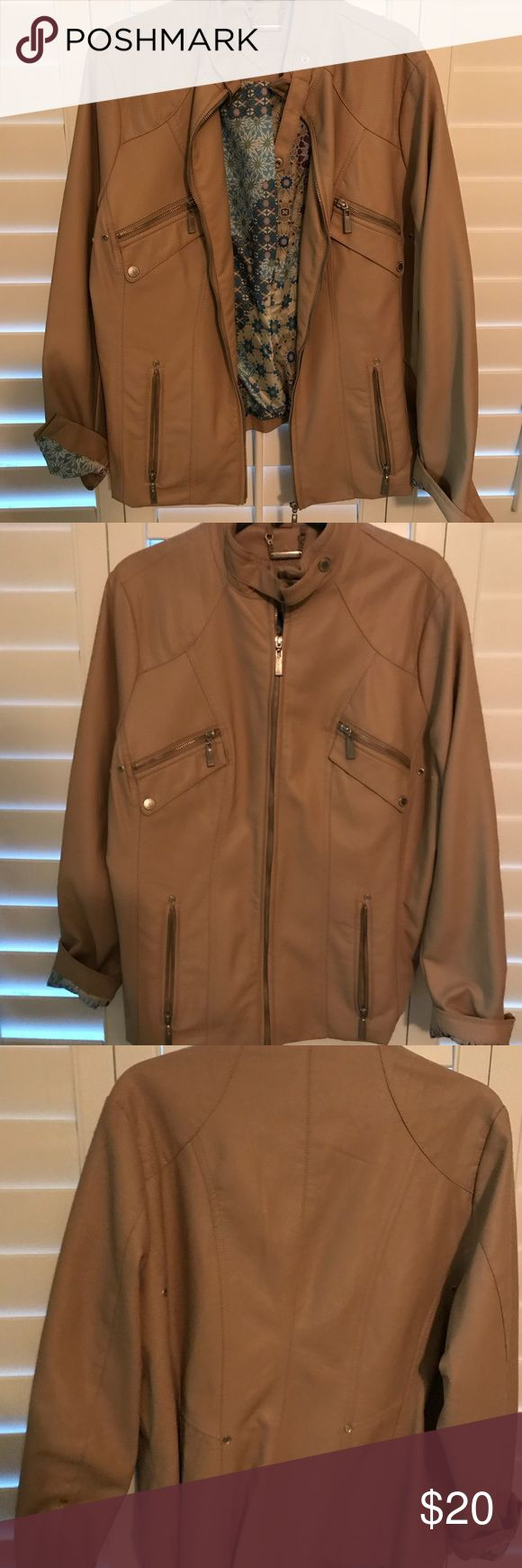 JouJou Jacket Vegan Leather Jacket. Very light tan color