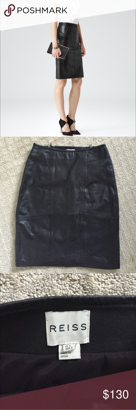 Reiss leather skirt 2 High waisted black leather skirt, worn once and is in excellent condition! Perfect for work or a night out. Reiss Skirts Pencil