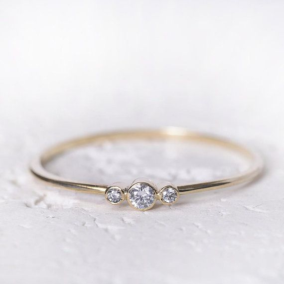 Simple Engagement Ring 14k Gold Ring Women Diamond Simple Engagement Rings Dainty Engagement Rings Gold Rings