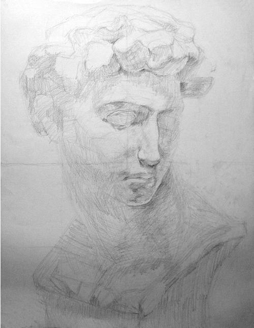 石膏像の鉛筆デッサン描き方過程04