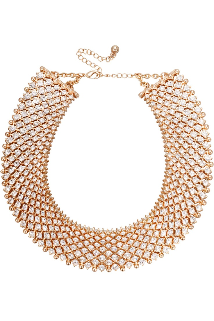 Ett vackert guldpläterat halsband med vita Cubicstenar.  *A stylish gold plated necklace with white cubic stones.