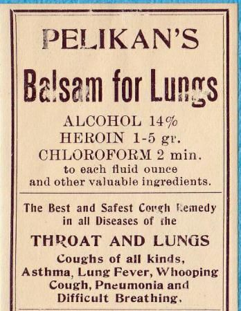 Balsam for Lungs with #Alcohol #Heroin and #Chloroform #research #history #vintage #medicine #drugs #high #SUPERHIGH