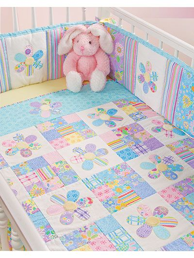 Use luxurious Minkee fabric without batting to make a soft baby blanket. Paired with a matching bumper pad, these designs make a sweet crib set for a baby girl. This e-pattern was originally published in the Quilting for Baby.