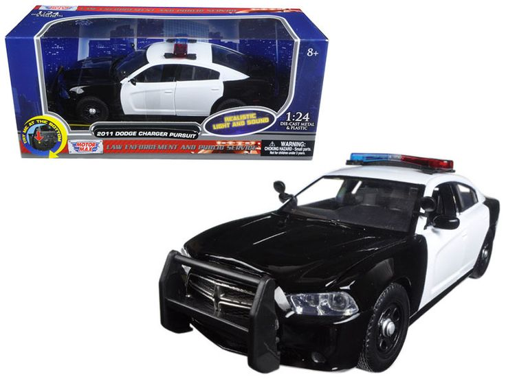 2011 Dodge Charger Pursuit Police Car Black and White with Flashing Light Bar, Front and Rear Lights and 2 Sounds 1/24 Diecast Model Car by Motormax - Brand new 1:24 scale diecast model car of 2011 Dodge Charger Pursuit Police Car Black and White with Flashing Light Bar, Front and Rear Lights and 2 Sounds die cast car model by Motormax. Has two sounds. When pressing the button once you hear one sound, when pressing it again you can hear another sound. Brand new box. Rubber tires. Has opening…