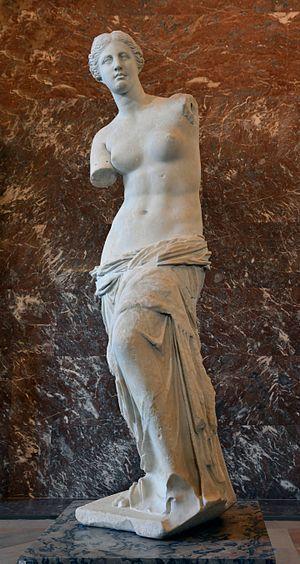 Venus de Milo on display at the  Louvre