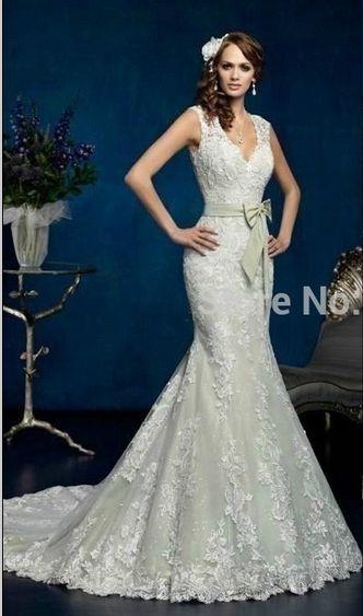 2015 sjöjungfru brudklänning V hals illusion otippad spets formella klänningar