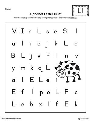 Alphabet Letter Hunt: Letter L Worksheet Worksheet.The Letter L Alphabet Letter Hunt is a fun activity that helps students practice recognizing the uppercase and lowercase letter L.
