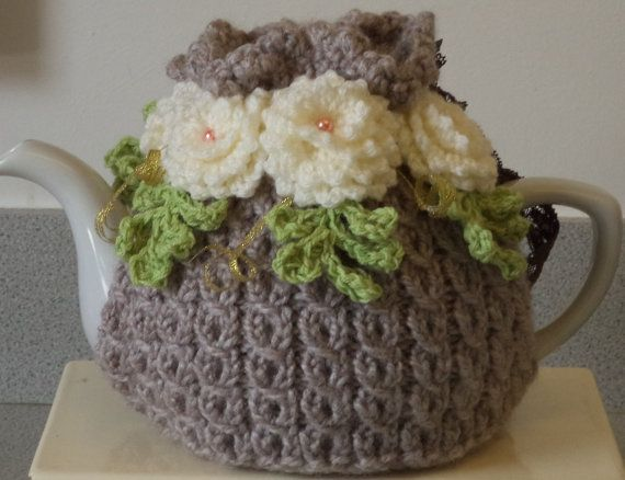 caramel - shabby chic - large, 6 cup tea cosy - hand knitted, crocheted and beaded